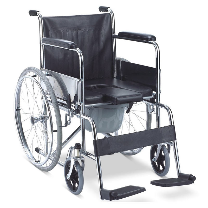 Chromed steel frame commode chair, wheel chair, commode chair